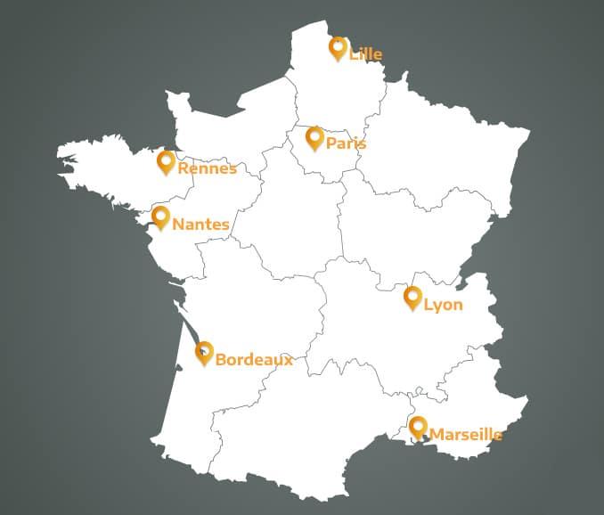 Carte france : centres formations Dialogis.