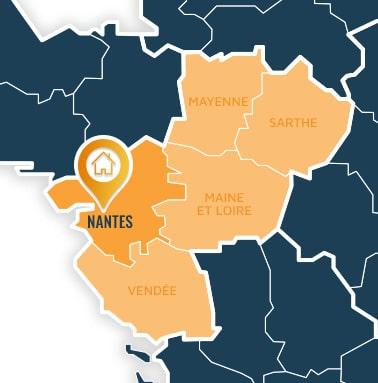 Localisation centre de formations Nantes (Loire Atlantique / Pays de la Loire).