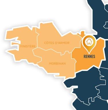 Localisation centre de formations Rennes (Ille-et-Vilaine / Bretagne).