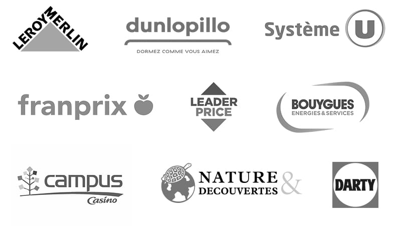 Logos : Leroy Merlin, Dunlopillo, Système U, Franprix, Leader Price, Bouygues Energies & Services, Campus Casino, Nature & Découverte, Darty.